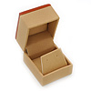 Light Brown/Beige Leatherette/Wood Stud Earrings Box