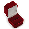 Burgundy Red Velour Box For Rings