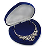 Luxury Blue Velour Jewellery Set/ Necklace/ Brooch/ Pendant/ Earring/ Comb Heart Jewellery Box (Necklace Not Included)