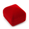 Small Square Red Velour Ring Jewellery Box