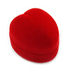 Small Red Velour Heart Ring Jewellery Box