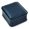 Luxury Square Dark Blue Snake Leatherette Brooch/ Pendant/ Earrings Jewellery Box