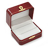 Victorian Style Burgundy Red Snake Leatherette Box for One & Two Rings With Gold Tone Metal Closure