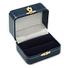 Victorian Style Dark Blue Snake Leatherette Box for One & Two Rings With Gold Tone Metal Closure