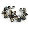 Grey Sea Shell, Black Ceramic Bead Floral Cuff Bracelet In Silver Tone - Adjustable
