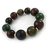Green/ Brown/ Black Graduated Wood Bead Flex Bracelet - 18cm L