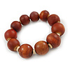 Light Brown Graduated Wood Bead Flex Bracelet - 18cm L