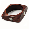Square Wood  Bangle With Shell Inlay Circles (Brown & Ivory)