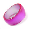 Oversized Pearlescent Pink Resin Bangle