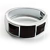 Silver Plastic Hinged Fashion Bangle