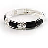 Black Thin Enamel Crystal Bangle