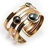 Two-Tone Geometric Hematite Ethnic Cuff Bangle