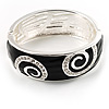 Black Crystal Enamel Swirl Bangle Bracelet