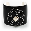 Black Wide Enamel Floral Cuff Bangle
