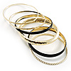 Patterned Metal Bangles - Set of 6 (Gold & Black)