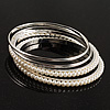 Smooth & Pearl Style Beaded Bangles - Set of 4 (Silver & Ivory)