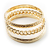 Patterned Metal Bangles - Set of 3 Pcs (Gold Tone) [BA00416]