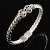 Twisted Crystal Hinged Bangle Bracelet (Silver Tone)