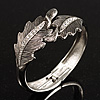 Vintage Crystal Leaf Bangle Bracelet