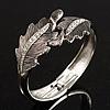 Vintage Crystal Leaf Bangle Bracelet