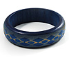 Blue Pattern Wooden Bangle