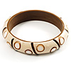Resin Bamboo Spot/Stripe Shell Inlay Bangle (Cream)