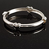 Rhodium Plated Hinged Heart Bangle Bracelet