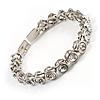 Stunning Bridal Clear Crystal Flex Bangle Bracelet (Silver Tone)