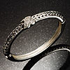 Silver Tone Textured Crystal Cross Hinged Bangle Bracelet
