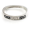 Greek Style Crystal Hinged Bangle Bracelet (Silver Tone)