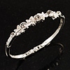 Clear Crystal Butterfly Bangle Bracelet (Rhodium Plated)