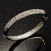 Classic CZ Silver Tone Bangle Bracelet