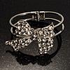 Silver Tone Crystal Bow Hinged Bangle Bracelet