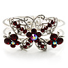 Swarovski Crystal Butterfly Hinged Bangle Bracelet (Silver&Red)