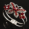 Swarovski Crystal Butterfly Hinged Bangle Bracelet (Silver&Red)