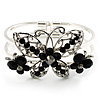 Swarovski Crystal Butterfly Hinged Bangle Bracelet (Silver&Jet Black)