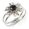 Swarovski Crystal Flower Hinged Bangle Bracelet (Silver, Clear&Black)