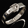 Polished Silver Tone Crystal Belt Hinged Bangle Bracelet