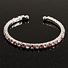 Clear&amp;Pink Crystal Thin Flex Bangle Bracelet (Silver Tone)