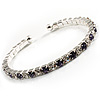 Clear&Violet Blue Crystal Thin Flex Bangle Bracelet (Silver Tone)