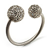 Crystal Ball Cuff Bangle (Silver Tone) - Catwalk 2011