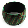 Wide Patterned Shell Bangle (Green & Brown)
