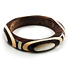 Geometrical Shell Pattern Wood Bangle (Brown & Beige)