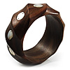 Twisted Chunky Wood Bangle (Brown)