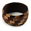 Brown & Beige Shell Mosaic Bangle