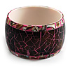 Chunky Wide Shell Bangle (Brown Grey & Bright Pink)