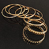 Hammered Metal Bangles- Set of 8 Pcs (Gold Tone)