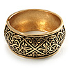 Wide Burnished Gold Plated Ethnic Bangle Bracelet - 33mm Width (Hinged)
