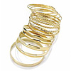 Smooth And Textured Metal Bangles- Set of 14 Pcs (Gold Tone)