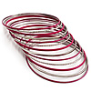 Silver Tone & Deep Pink Thin Smooth & Textured Bangle Set - 13 Pcs